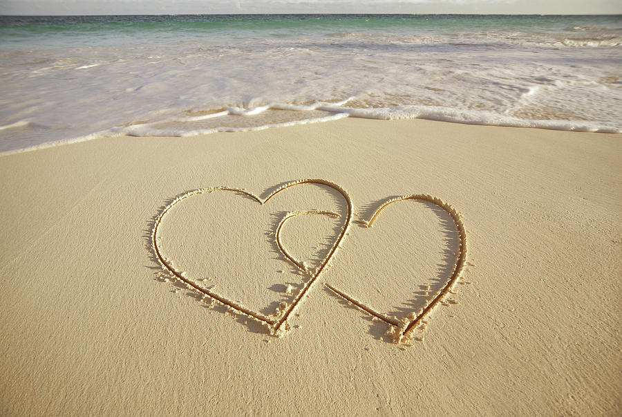 2 Hearts Drawn On The Beach Photograph by Gen Nishino