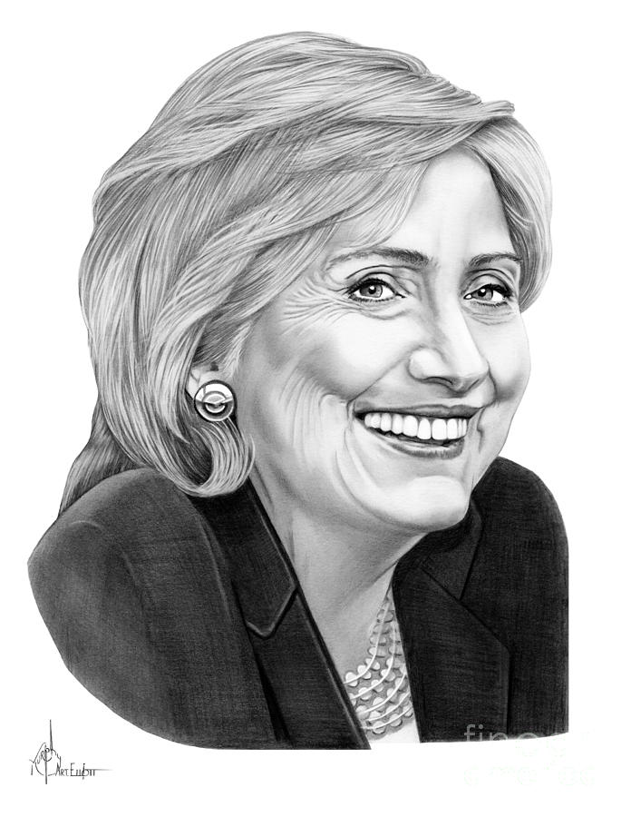 Brand-new Hillary Clinton Drawing by Murphy Elliott AK18