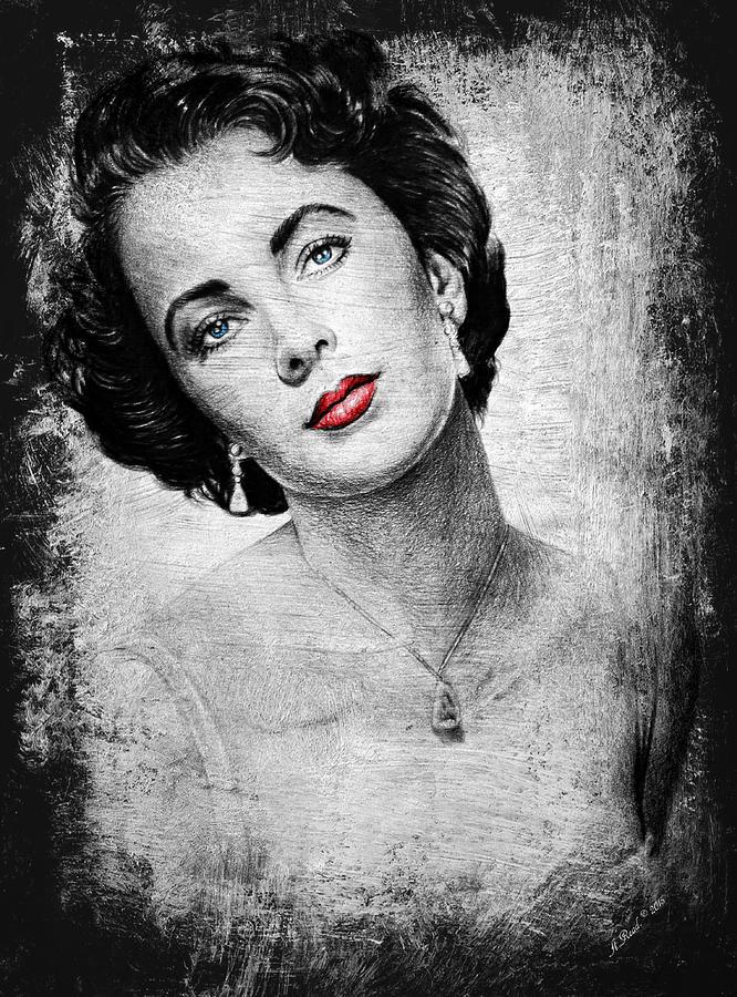 Elizabeth Taylor Drawing - Hollywood Greats Elizabeth Taylor by Andrew Read