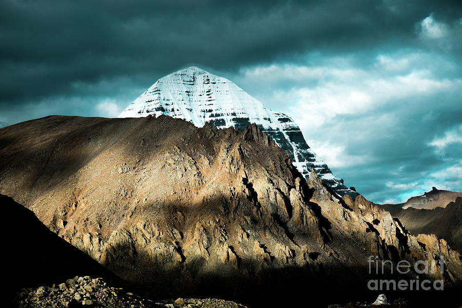 Tibet Photograph - Holy Kailas East Slop Himalayas Tibet Yantra.lv by Raimond Klavins