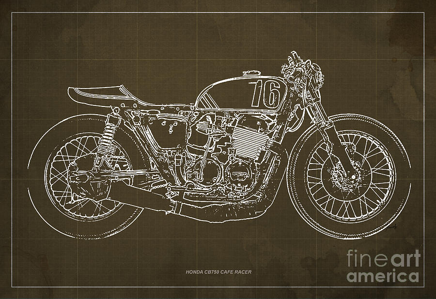 Honda cb750 cafe racer blueprint drawing by pablo franchi honda drawing honda cb750 cafe racer blueprint by pablo franchi malvernweather Image collections