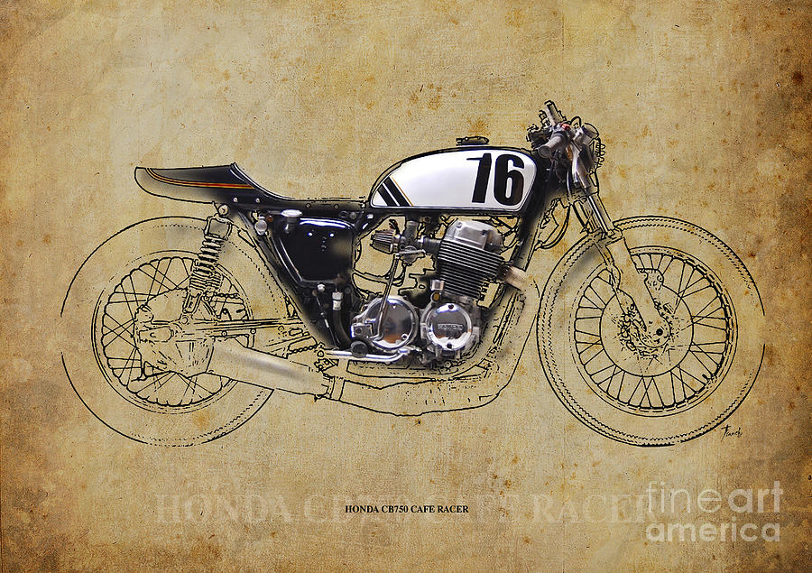 Honda Cb750 Cafe Racer >> Honda Cb750 Cafe Racer Digital Art By Drawspots Illustrations