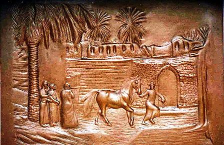 Horses Merchant Relief by Wall sculpture artist Ahmed Shalaby