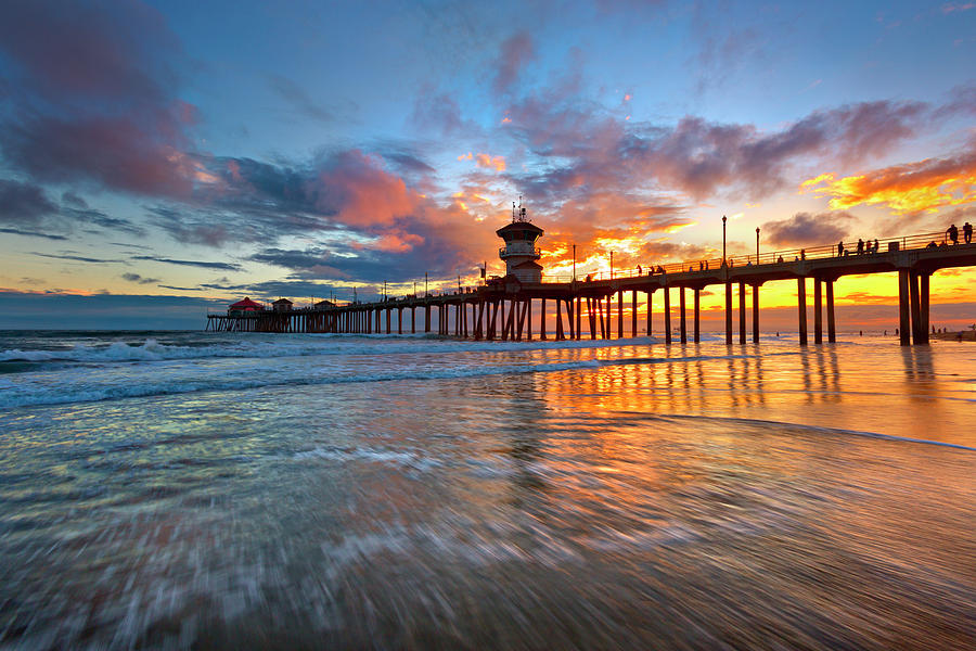 Huntington Beach Pier Sunset Photograph By Brian Knott Photography