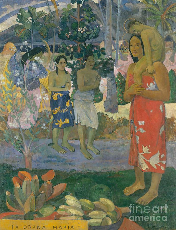 Gauguin Painting - Ia Orana Maria  Hail Mary by Paul Gauguin
