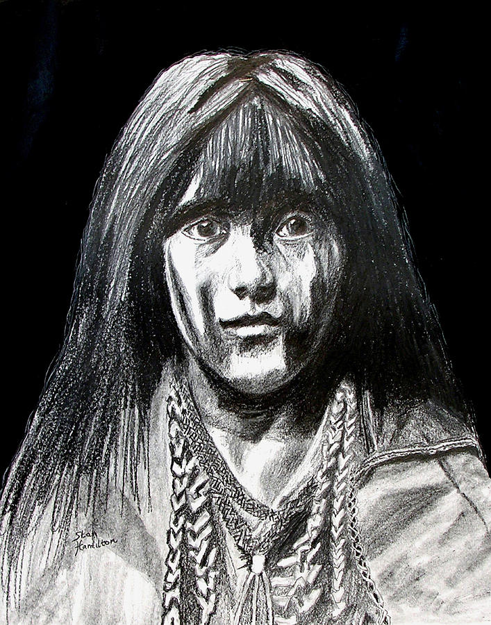 Indian Maiden Drawing - Indian Maiden by Stan Hamilton