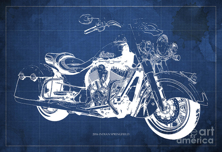 Indian Springfield Drawing - Indian Springfield 2016 Blueprint Art Vintage Background by Drawspots Illustrations