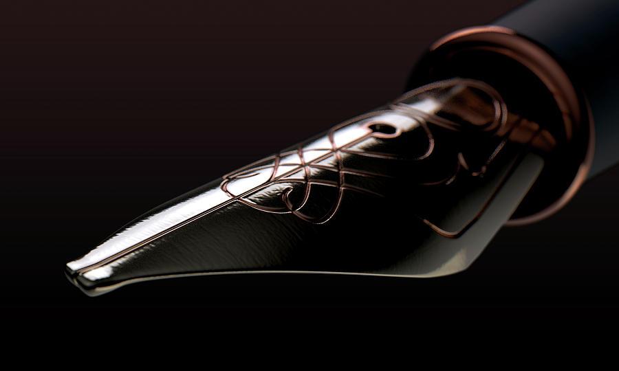 Pen Digital Art - Intricate Fountain Pan Nib by Allan Swart