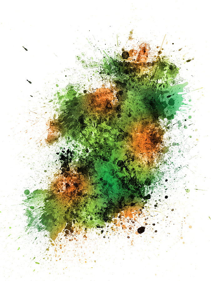Irish Digital Art - Ireland Map Paint Splashes 2 by Michael Tompsett