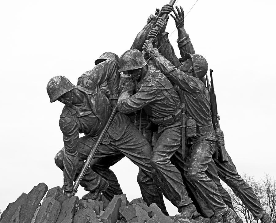Black Photograph - Iwo Jima Memorial In Arlington Virginia by Brendan Reals
