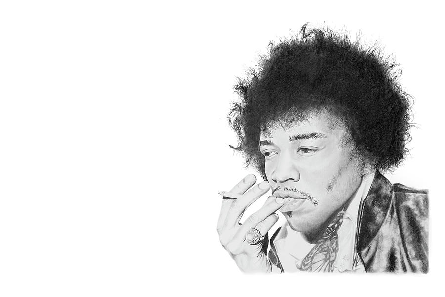 Hendrix Drawing - Jimi Hendrix by Don Medina