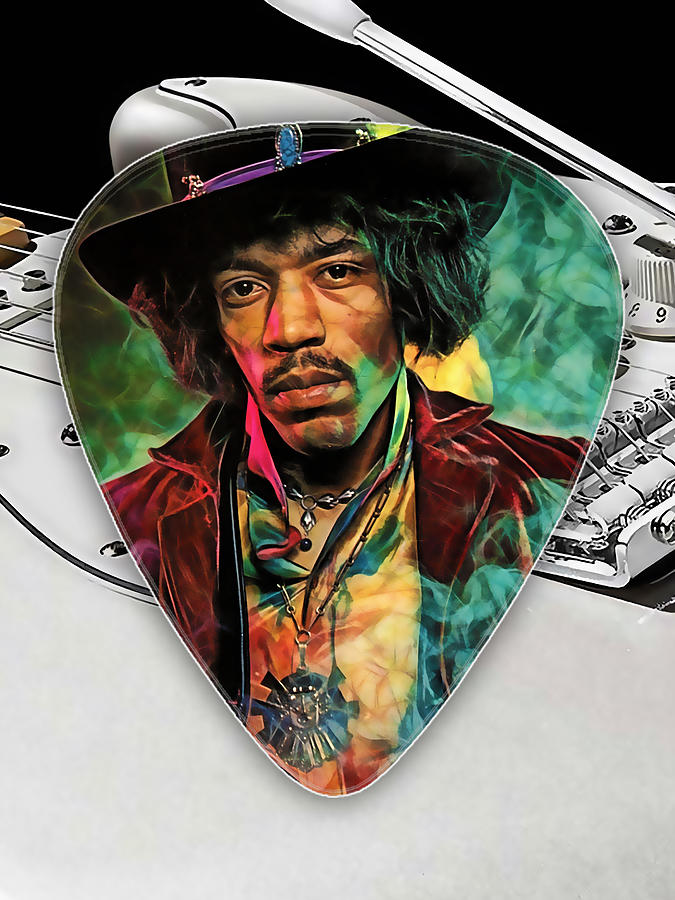 jimi hendrix guitar pick collection mixed media by marvin blaine. Black Bedroom Furniture Sets. Home Design Ideas