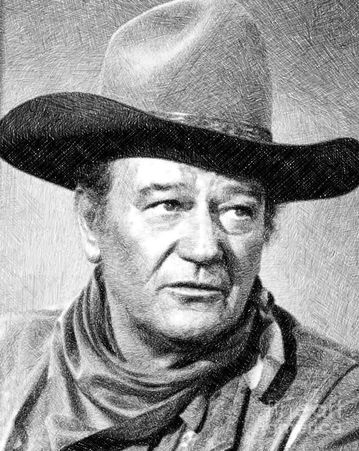 John Wayne, Vintage Actor By Js Drawing