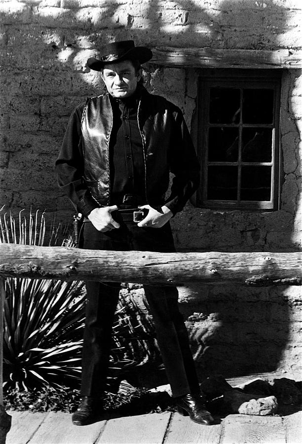 Johnny Cash Gunfighter Hitching Post Old Tucson Arizona 1971 Photograph by David Lee Guss
