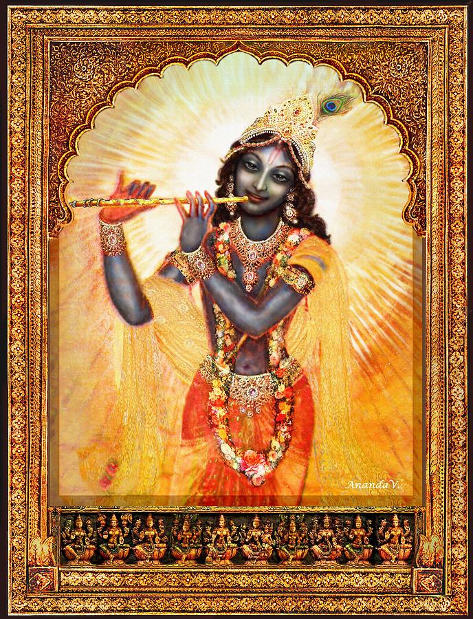 Krishna Mixed Media - Krishna With The Flute  by Ananda Vdovic