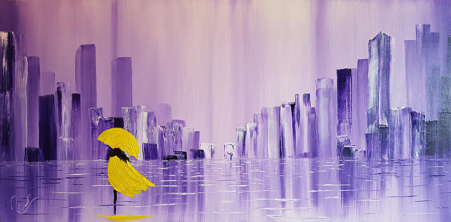 Lady in a Yellow Coat and With a Yellow Umbrella Walking Alone T by Russell Collins