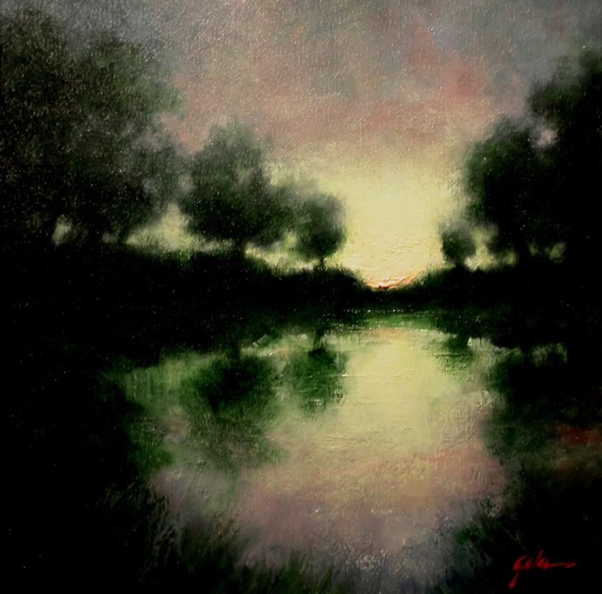 Landscapes Painting - Lagoon at Sunset by Jim Gola