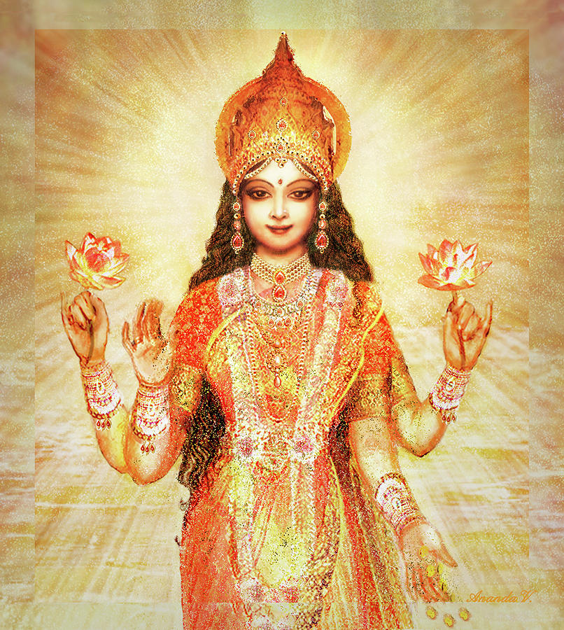 Lakshmi Mixed Media - Lakshmi the Goddess of Fortune and Abundance by Ananda Vdovic