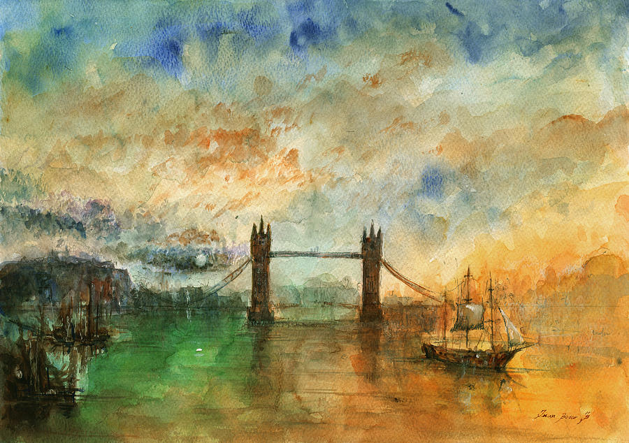 london watercolor painting painting by juan bosco