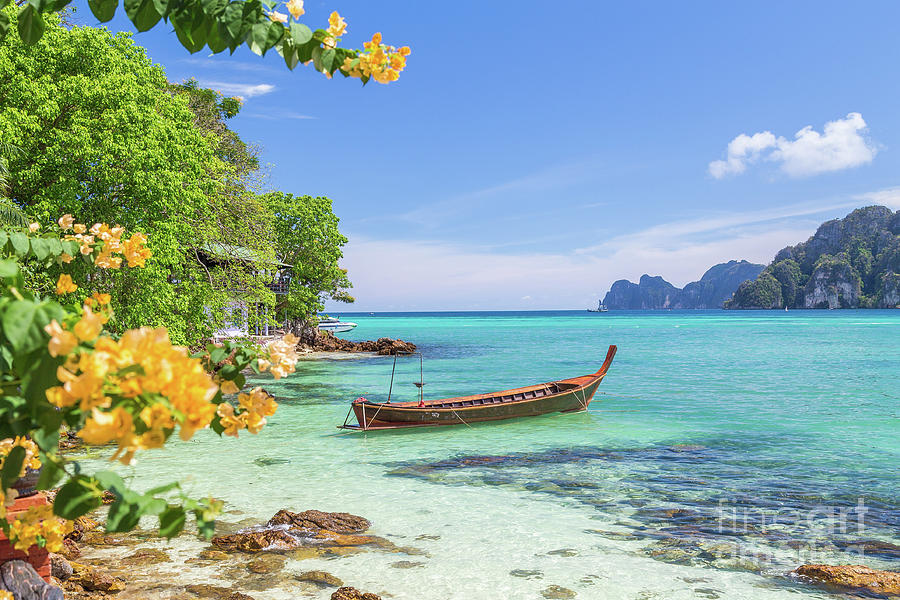 Copy Space Photograph - Long-tail Boats, The Andaman Sea And Hills In Ko Phi Phi Don, Th by Travel and Destinations - By Mike Clegg