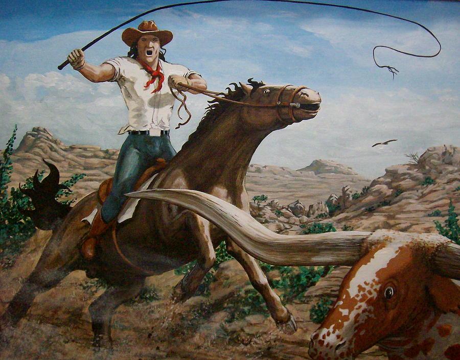 Cowboy Painting - Longhorn Master by David  Larcom