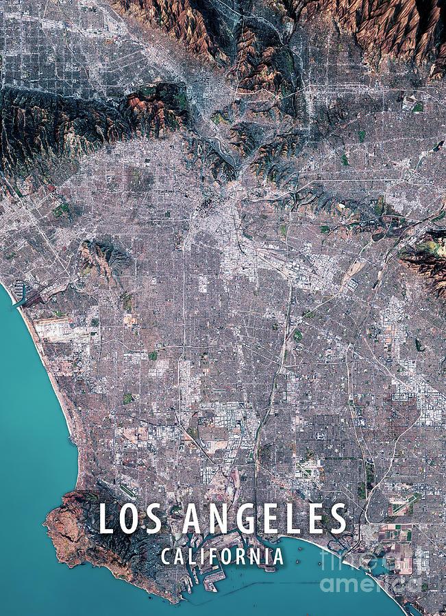 Los Angeles 3d Render Satellite View Topographic Map Digital Art By
