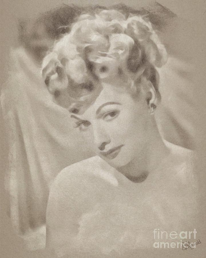 Lucille Ball Vintage Hollywood Actress Drawing