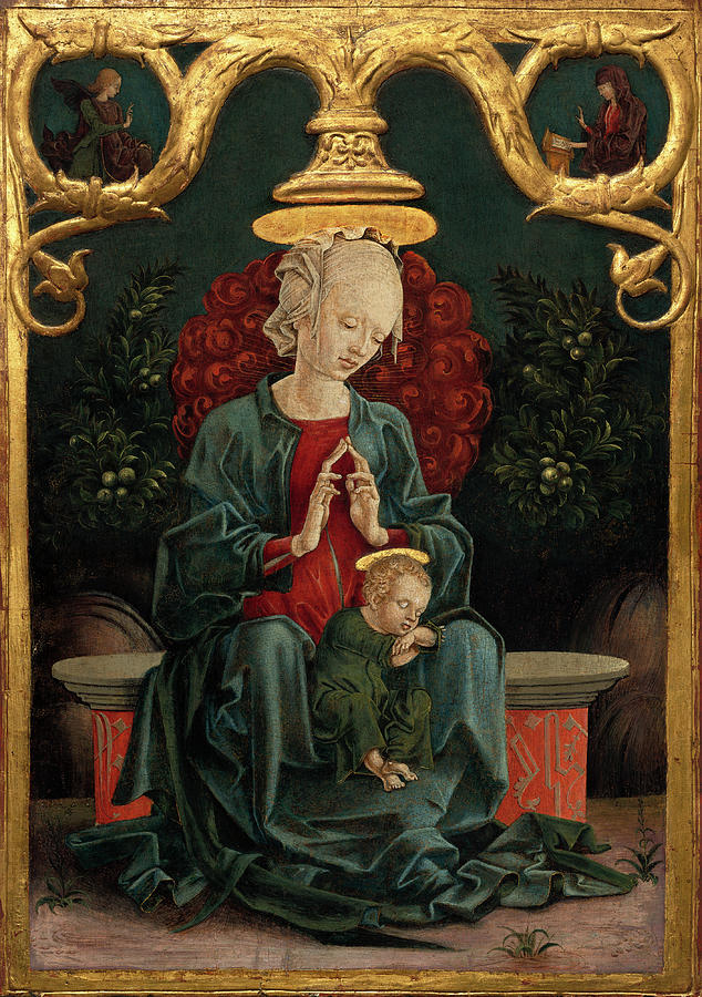 Madonna And Child In A Garden Painting By Cosme Tura