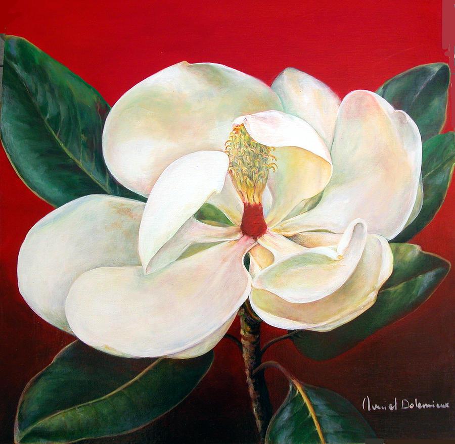 Flower Painting - Magnolia by Muriel Dolemieux