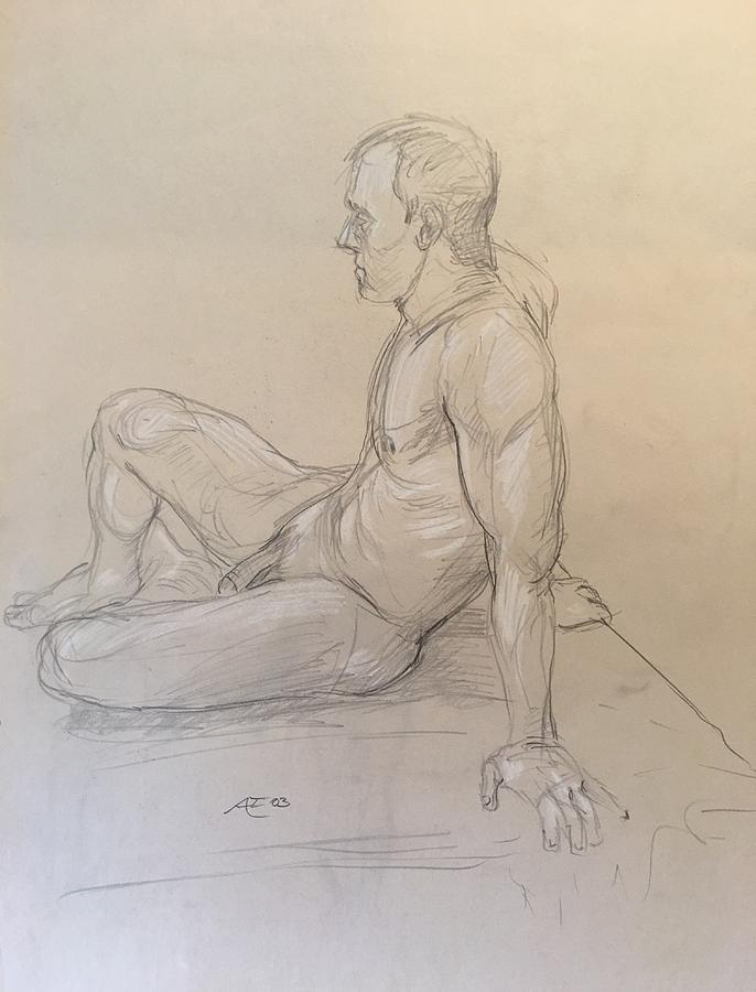 Male Nude Drawing by Alejandro Lopez-Tasso