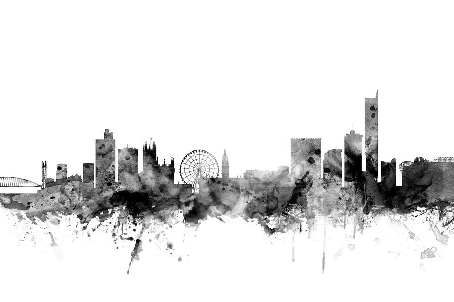 City Digital Art - Manchester England Skyline by Michael Tompsett