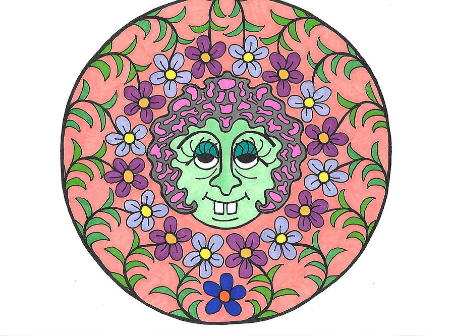 Mandala Drawing - Goofy Green Witch by Roberta Dunn