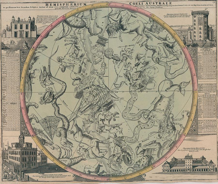 Map - Celestial Map- Old Map - Vintage Art Wall - World Map - Circa 1600