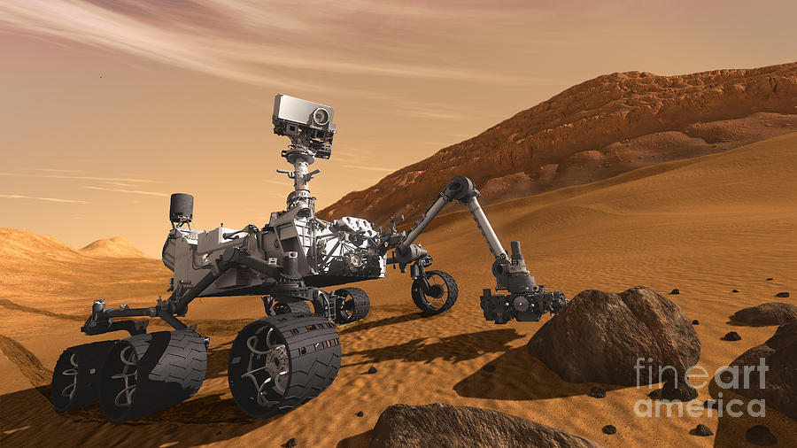 Science Photograph - Mars Rover Curiosity, Artists Rendering by NASA/Science Source