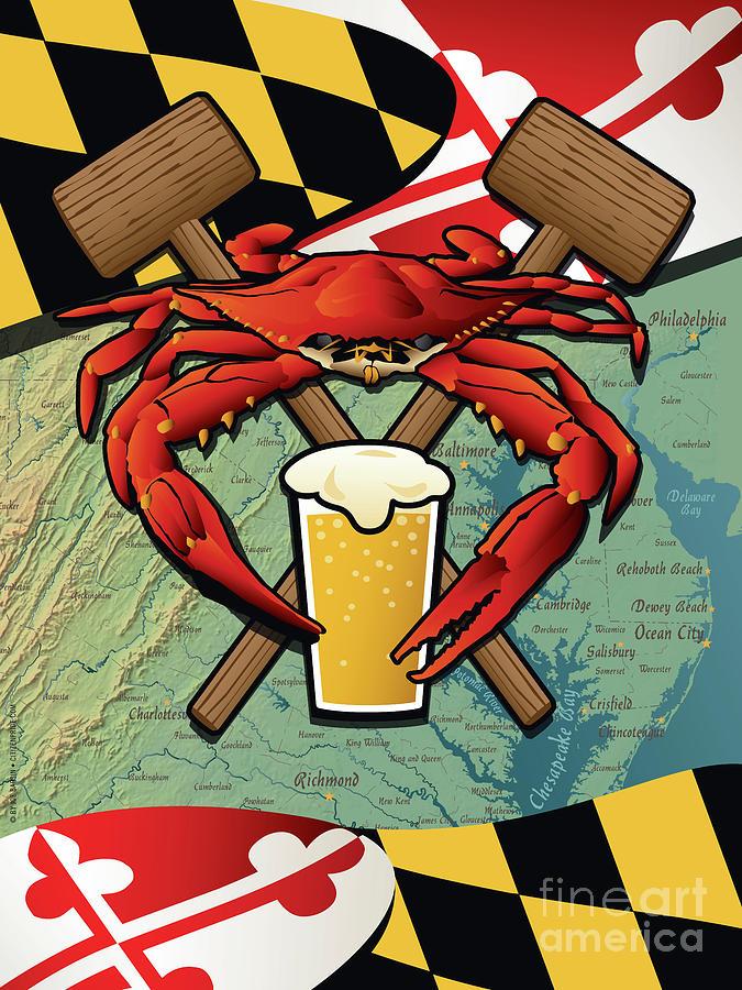 Maryland Digital Art - Maryland Crab Feast Crest by Joe Barsin