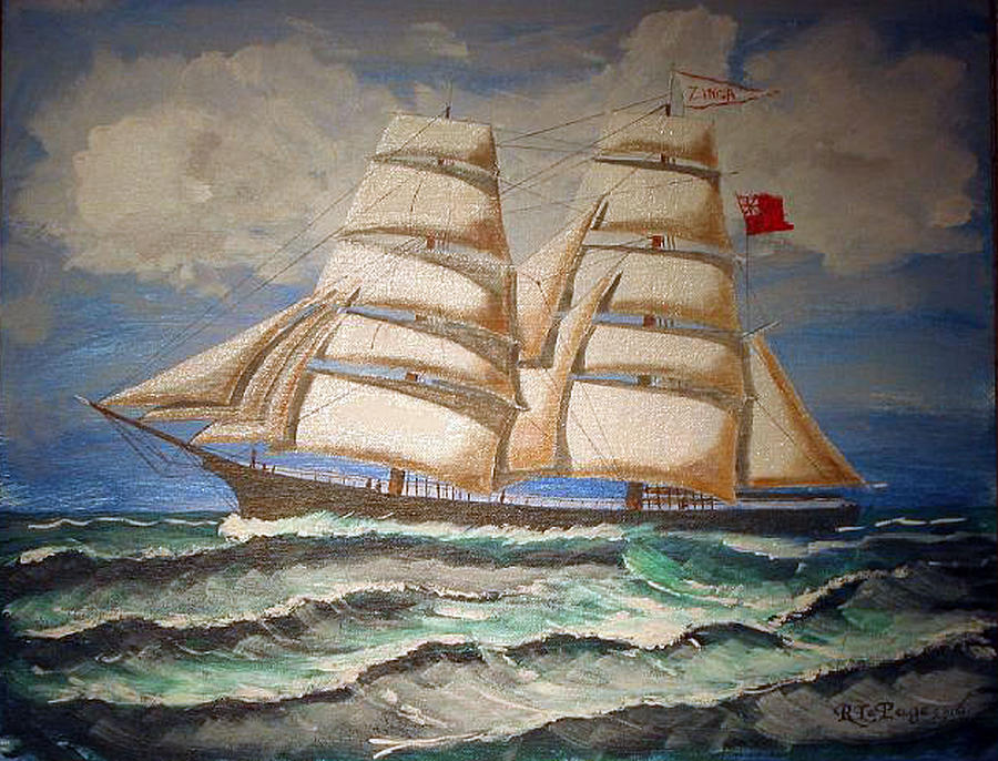 Tall Ship Painting - 2 Master Tall Ship by Richard Le Page