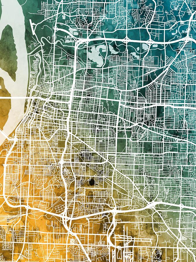 Memphis Tennessee City Map Digital Art by Michael Tompsett