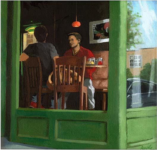 Cafe Painting - 2 Men At Cafe by Linda Apple