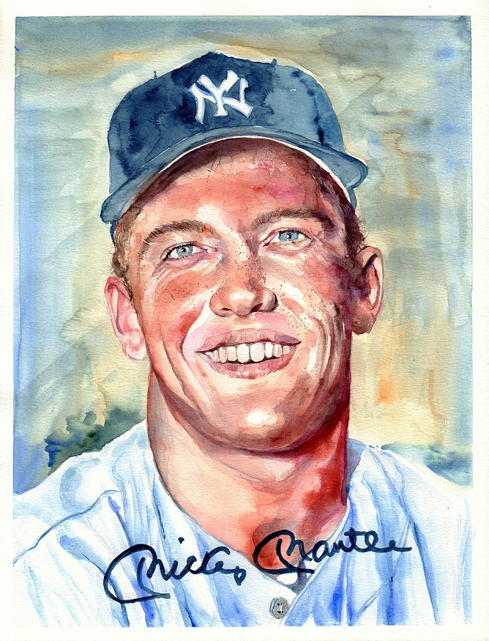 Mick Painting - Mickey Mantle Portrait by Suzann Sines