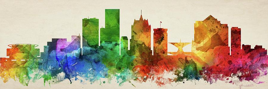 Milwaukee Digital Art - Milwaukee Skyline Panorama Uswiml-pa03 by Aged Pixel