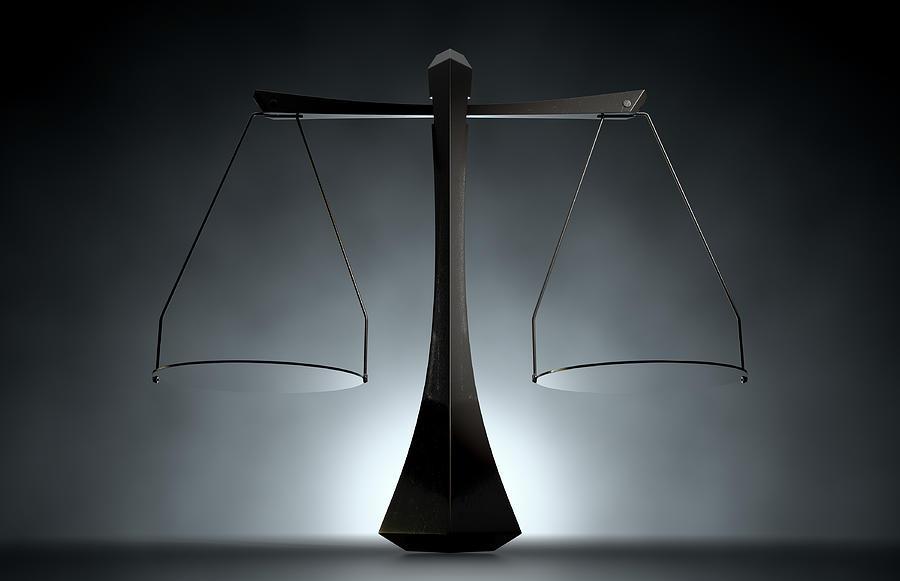Balanced Digital Art - Modern Scales Of Justice by Allan Swart