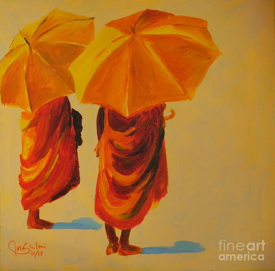 2 Monks with sunshade by Jolanta Shiloni