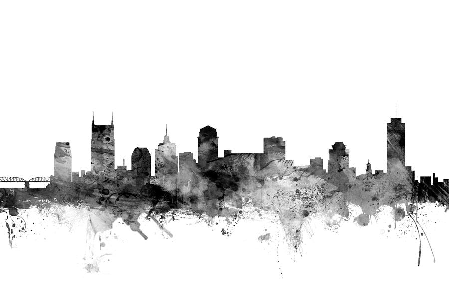 United States Digital Art - Nashville Tennessee Skyline by Michael Tompsett