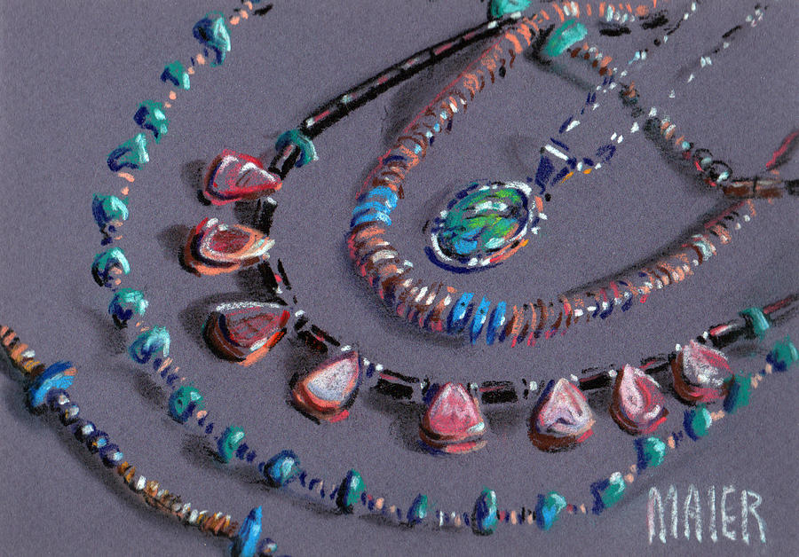 Turquoise Jewelry Drawing - Navajo Jewelry by Donald Maier