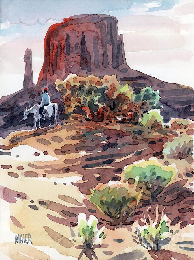 Navajo Painting - Navajo Rider by Donald Maier
