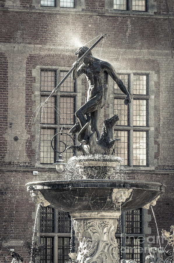 Neptunes Fountain, Gdansk Bw Photograph