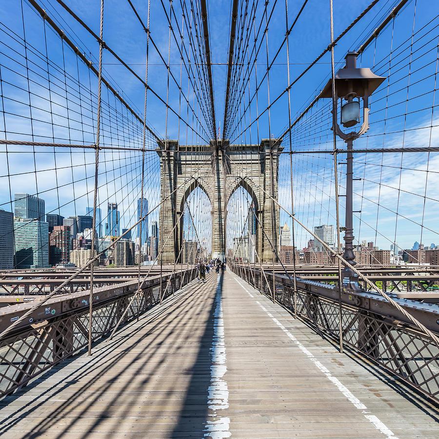 New York City Photograph - New York City Brooklyn Bridge by Melanie Viola