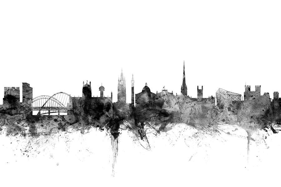 City Digital Art - Newcastle England Skyline by Michael Tompsett