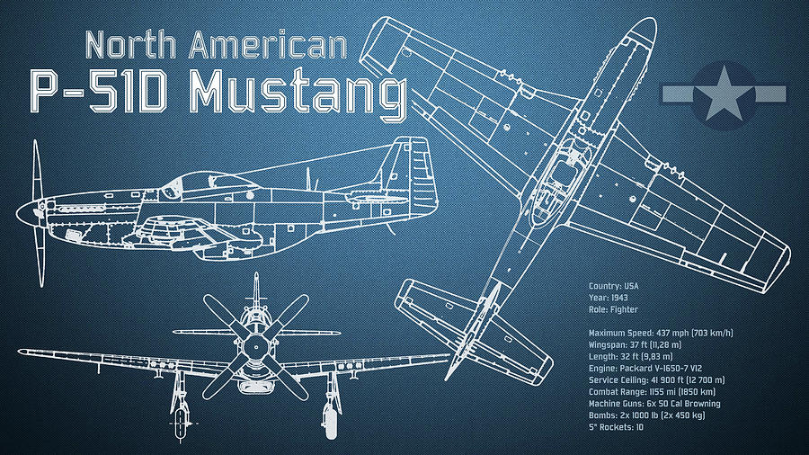North american p 51d mustang blueprint digital art by jose elias p 51d digital art north american p 51d mustang blueprint by jose elias malvernweather Gallery