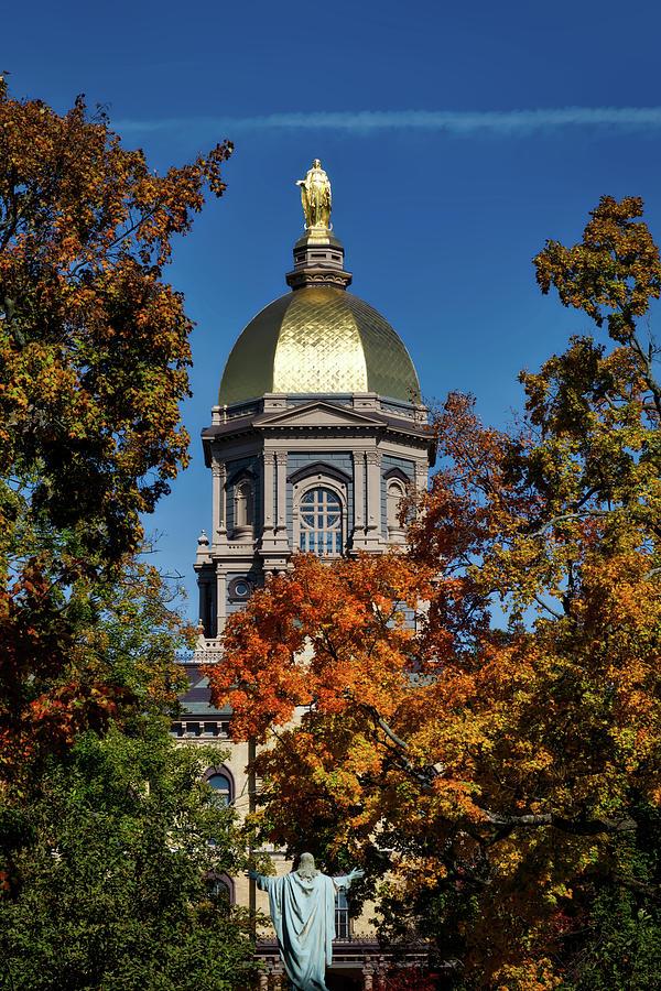 Notre Dame University Photograph - Notre Dames Golden Dome by Mountain Dreams